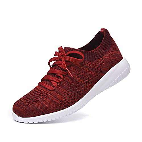 JIUMUJIPU Women's Walking Sneaker Slip-on Running Shoes - Black,White,Gray,Lightweight Mesh-Comfortable Tennis Shoe (Crimson/004-9, 10)