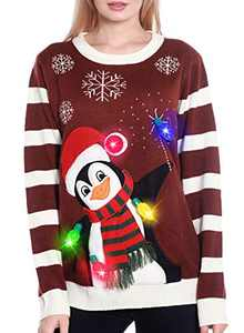 Light Up Women's Christmas Sweater, 3D Penguin Snowman Santa Hat Ugly Sweater Knit New Year Eve Holiday Funny Sweatshirt