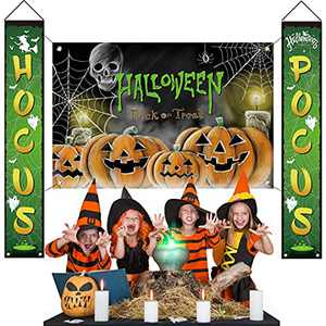 Chokeberry Halloween Decorations Outdoor - Hocus Pocus Halloween Porch Decor Large Banners, Witches Hanging Banners for Indoor Home Front Door Wall, 600D Fabric Party Decorations, Set of 3
