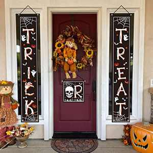 chokeberry Halloween Decorations Outdoor - Trick or Treat Decorations Halloween Porch Decor Banners, Bone Font Hanging Banners for Indoor Home Front Door Wall, 600D Fabric Party Decorations, Set of 3