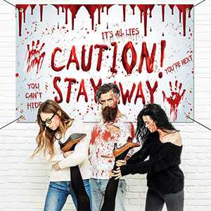 Halloween Decorations Outdoor - Caution! Stay Away, Creepy Halloween Decor Large Banners, Bloody Backdrop Banner for indoor Home Front Door Wall, 600D Fabric Party Decorations