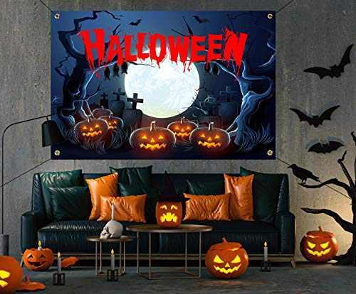 Halloween Decorations Outdoor - Happy Halloween Creepy Halloween Decor Large Banners, Backdrop Background Banner for indoor Home Front Door Wall,600D Fabric Halloween Party Supplies