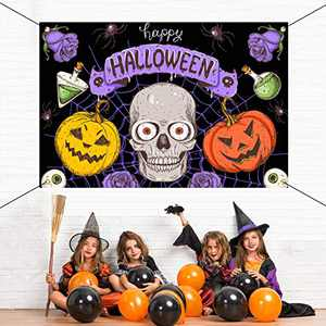 Decorations Outdoor - Happy Halloween Creepy Halloween Decor Large Banners, Backdrop Background Banner for Indoor Home Front Door Wall, High-Quality Fabric Party Decorations