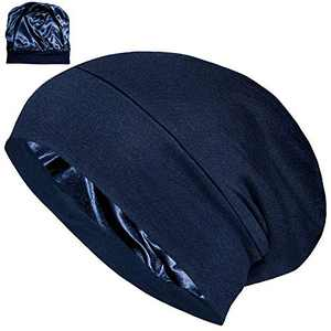 ALEXANDER PRODUCTS Satin Lined Sleep Cap Adjustable Bonnet Slouchy Beanie Slap Hat for Natural Curly Girls and Frizzy Hair Cap for Women Blue