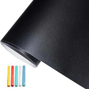Coavas Multifunctional Chalkboard-Paper Wall Stickers Vinyl Adhesive DIY Blackboard Wallpaper with 5 Free Chalks for Home Office Cafes Restaurant (Pure Black, 17.5 x 78.7 Inches)