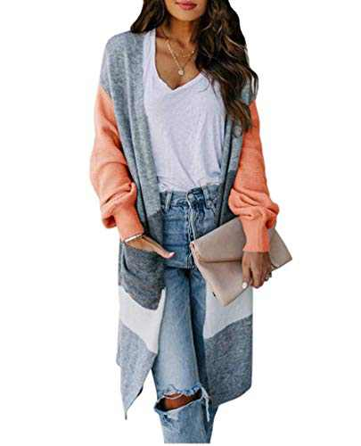 Boncasa Women's Lightweight Open Front Cardigan Long Sleeve Casual Knit Colorblock Sweater Loose Fall Kimono Duster Coats Orange 24B5C-juse-L