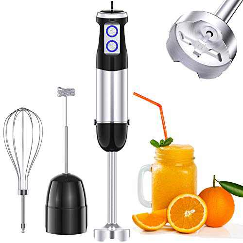 COMSOON Immersion Blender, 3-in-1 500W Multifunctional Hand Blender, Turbo Design & 6 Speed Stick Blender with Detachable Shaft, Whisk & Milk Frother for Making Smoothies, Puree, Baby Food, Soup, etc