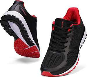 JOOMRA Tennis Shoes for Men Running Walk Fitness Size 13 Cushion Lightweight Arch Supportive Footwear for Man Workout Runny Casual Athletic Sneakers Black Red 47