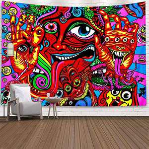 Colorful Tapestry Wall Hanging, Lil Peep Tapestry Surreal Abstract Tapestries for Dorm Bedroom Living Room College Nails, 51.2 X 59.1 inches