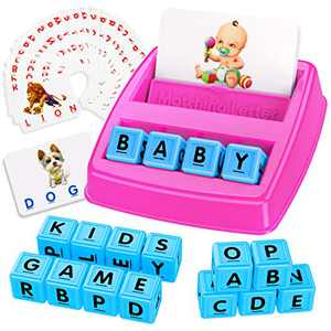 Tesoky Matching Letter Game for Kids - Learning Toys for 3-8 Year Old Girls Boys Word Games with Cards and Letter Cubes Rose Red
