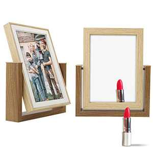 AEVETE Rotating Picture Frames 5x7 with Table Makeup Mirror, Wood Picture Frames for Dressing Table
