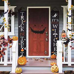Adeeing Halloween Porch Banner Outdoor Decoration Vertical Signs for Front Door Home Office Indoor Decor Hanging Pendant