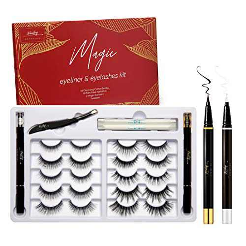 Magic Non Magnetic Lashes with Eyeliner,10 Pairs False Eyelashes, No Glue Non-Magnetic Eyelashes Set, Reusable Fake Eyelashes 10 Pairs with 2 Self Adhesive Eyeliners and Tweezers