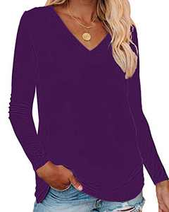 Corfrute Womens Solid Tunic Summer Long Sleeve Tops Casual V Neck Basic Tee Shirts(Purple,S)