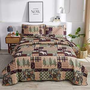 3-Piece Moose Pine Tree Reversible Quilt Set, Checked Color Stripe Rustic Home Lodge The Wilds Quilted Bedspread Coverlet Bedding Set, Lightweight Breathable for All Season (Full/Queen, White Deer)