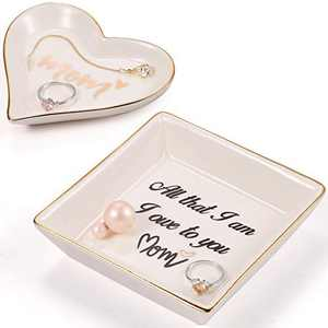 Mother of the Bride Gifts Ring Dish from Daughter - Cute Ring Holder Ceramic Trinket tray Square and Heart Shape for Mothers Grandma Birthday Thanksgiving Day Gift - All that I am I Own to You Mom