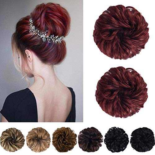 SEIKEA Messy Bun Hair Piece Tousled Thick Updo Hair Scrunchies Hair Extensions Curly Wavy Ponytail Hairpieces with Elastic Rubber Band Hair Accessories 2PCS - Burgundy