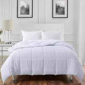 ELNIDO QUEEN All-Season White Down Alternative Quilted Comforter- Corner Duvet Tabs-Machine Washable-Duvet Insert or Stand-Alone Lightweight Comforter-King Size(102×90 Inch)