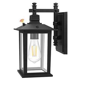 Outdoor Wall Lantern, Dusk to Dawn Sensor Outdoor Wall Light, Exterior Outdoor Wall Sconce, Anti-Rust Waterproof Matte Black Porch Light with Clear Glass for Doorway, Porch, Garage. LED Bulb Included