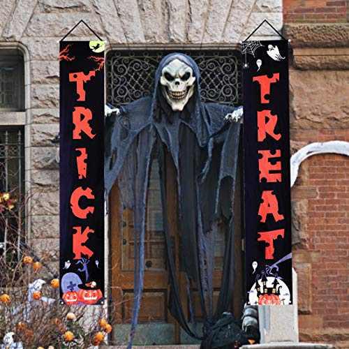 Halloween Outdoor Decorations Trick or Treat Halloween Hanging Banner Set Halloween Decor for Front Door Welcome Sign