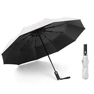 HUA ANGEL Travel Umbrella Windproof Automatic Umbrellas-10 Ribs Foldable Compact Durable Travel Umbrella(with Umbrella Sling Bag)