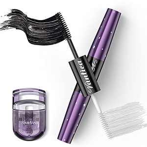 VANTICA Double-end Mascara & Lash Enhance Primer - Waterproof Mascara Black Volume and Length, 4D Silk Fiber Thick Lengthening Mascara & Nourishing Lash Primer 2 in 1