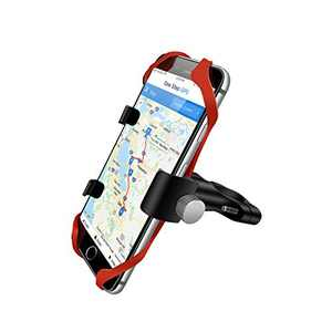 ECWKVN Bike & Motorcycle Phone Mount, Universal Bicycle Motorcycle Phone Holder Adjustable Fits Most Handlebars with 2pcs Anti Shake Silicon Bands for All Smartphones Between 3.5 and 7.2 inches