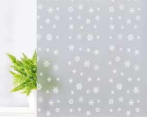Coavas Window Film Privacy Frosted Glass Film Self-Adhesive Opaque Privacy Protection Film Glass Sticker, for Living Room Bedroom Office etc. 17.7 by 78.7 inches, Snow Pattern