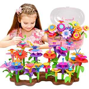 FoMass Toys for 3 Year Old Girls, Flower Garden Building Toy STEM Pretend Playset for Toddlers Kids Stacking Game Educational Gifts for Birthday Christmas (143 PCS)