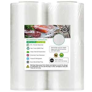 8''x25' Vacuum Sealer Bags for Food Saver (2 PACK), Commercial Grade Sealer Saver Rolls for Meal Prep or Sous Vide, BPA Free, Puncture Prevention, Heavy-Duty