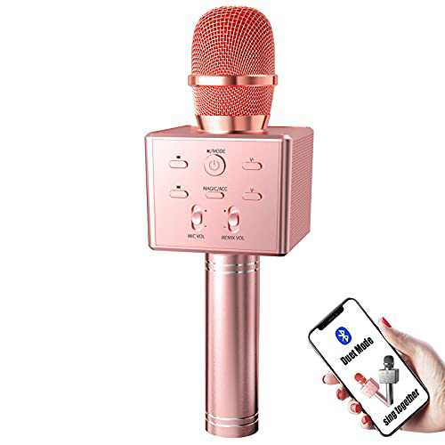 BeTIM Wireless Bluetooth Karaoke Microphone,3-in-1Portable Handheld Cordless Karaoke Mic Speaker,Magic Voice-Changed,Duet,for All Smartphone and PC (Rose Gold)