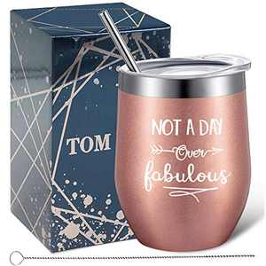 Tom Boy Not A Day Over Fabulous Wine Tumbler, Birthday Gifts for Women, Wine Gifts Idea for Her, Mom, Best Friend, Coworker, Sister, Stainless Steel Wine Tumbler 12oz