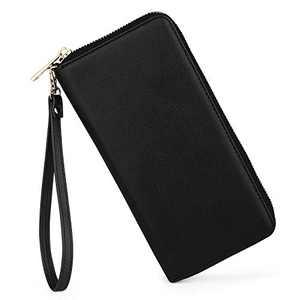 U+U Womens Leather Wallet RFID Blocking Card Holder Cellphone Clutch Ladies Purse with 12 Card Slots,Black…