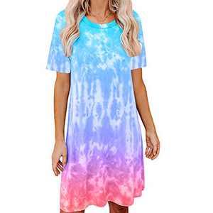 Women's Tie Dye Tank Sleeveless Knee Length Pleated Sun Dresses Pajama Sleep Shirt Lounge Dress (L, E-Blue+Red)