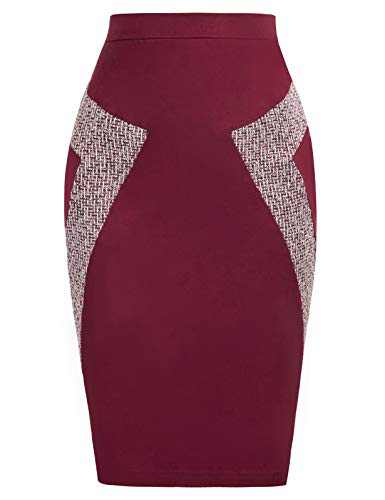 JASAMBAC Colorblock Skirt for Office Womens Stretch Slim Fit Skirt Size S Wine Red