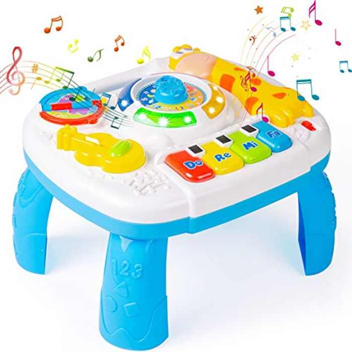 Thedttoy Baby Toys Activity Table Musical Learning Table with Lights and Sounds Activity Toys for Boys Girls