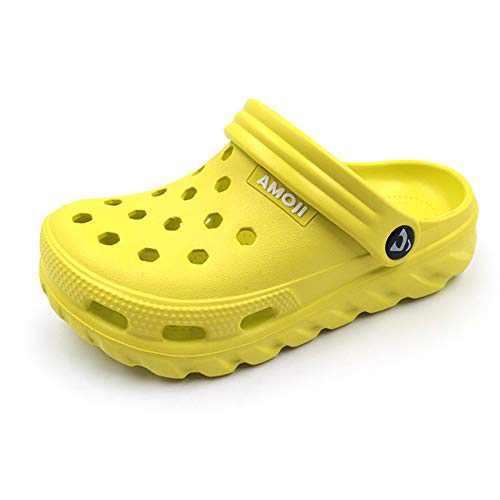 Amoji Kids Clogs Boy Crock Girl Garden Shoes Toddler Sandals Children Gardening Clog Child Slip On Sandals Youth Shower Slippers Clog & Mules Size Lemon 9.5-10 Toddler