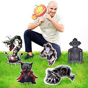 HIGBRE Halloween Decorations Scary Halloween Decoration Wolf/Cat/Ghost Yard Stakes Scary Halloween Theme Yard Sign for Yard Lawn 6pcs