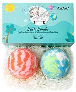 AmoVee Bath Bombs, 2 Pcs Bath Bombs Gift Set Glowing Planets for Kids, Women, Men, with Natural Essential Oils, Shea Butter, Sea Salt, SPA Bubble Fizzies