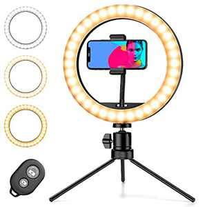 Pipishell Ring Light with Tripod Stand & Phone Holder, Selfie Ring Light 10 inch With 3 Colors, 10 Brightness Levels, Robust Phone Tripod for YouTube Video Tik Tok Vlog Live Streaming
