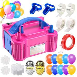 Balloon Pump Electric, Ezire Balloon Inflators Machine Dual Nozzle Blower Air Pump with Balloons, Tape Strip, Tying Tool, Dot Glue, Flower Clip for Party Birthday Wedding Festival Baby Shower Decor