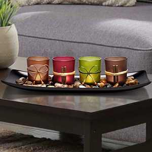 Lamorgift Home Decor Candle Holders Set for Bathroom Decorations - Candle Holder Centerpieces for Dining Room Table & Living Room Decor & Coffee Table Decor(Large Tray with 4 Candle Holders)