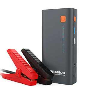 GOOLOO 1200A Peak 18000mAh SuperSafe Car Jump Starter with USB Quick Charge (Up to 7.0L Gas or 5.5L Diesel Engine), 12V Portable Power Pack Auto Battery Booster Phone Charger Built-in LED Light,Gray