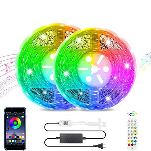 LED Strip Lights Works with Bluetooth, Remote,16 Million Colors Phone App Controlled Music Light Strip for Home, Kitchen, TV, Party, for iOS and Android (32.8FT)