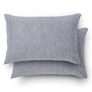 """Bedsure Standard Pillowcases Size Set of 2 - Grey Cooling Cotton Pillow Cases for Hot Sleepers with Envelope Closure, Breathable Soft Double Side Pillow Cases with Cooling & Cotton Fiber, 20"""" x 26"""""""