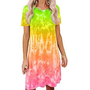 Women's Tie Dye Tank Sleeveless Knee Length Pleated Sun Dresses Pajama Sleep Shirt Lounge Dress (XL, E-Green+Yellow)