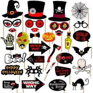 Jblcc 34PCS Halloween Photo Booth Props - Halloween Party Supplies Decorations