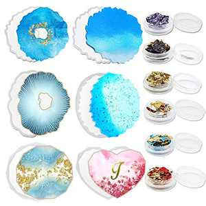 Resin Coaster Molds for Resin Casting, Silicone Molds for Epoxy Resin Glossy Geode Coaster Mold Heart Cup Mat with Gold Foil Glitter, 12 Pack