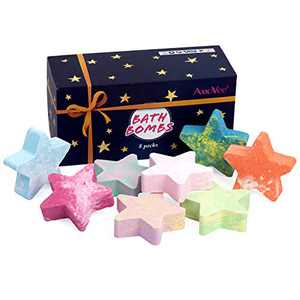 AmoVee Bath Bombs, 8 Pcs Star Shape Bath Bomb Gift Set for Kids, Women, Mom, Girlfriend with Natural Essential Oils, Shea Butter, Sea Salt, SPA Bubble Fizzies