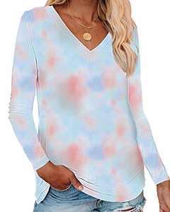Corfrute Womens Tie Dye Tunic Summer Long Sleeve Tops Casual V Neck Basic Tee Shirts(F-38,2XL)